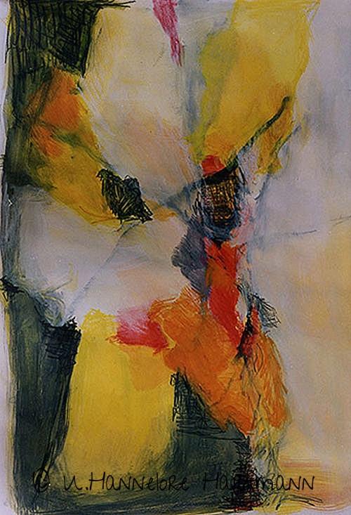 """Ohne Titel""  Collage, Aquarell auf Papier, 100 x 70"