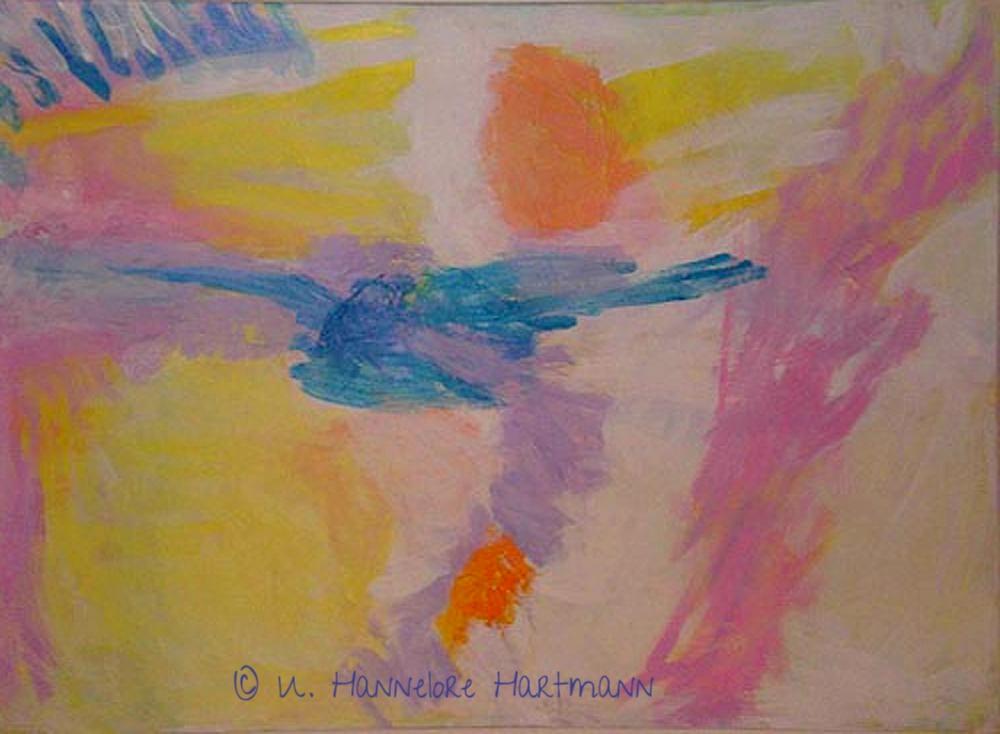 """Spuren"" Acryl, Pigmente auf Nessel, Ölkreide, 110 x 140"