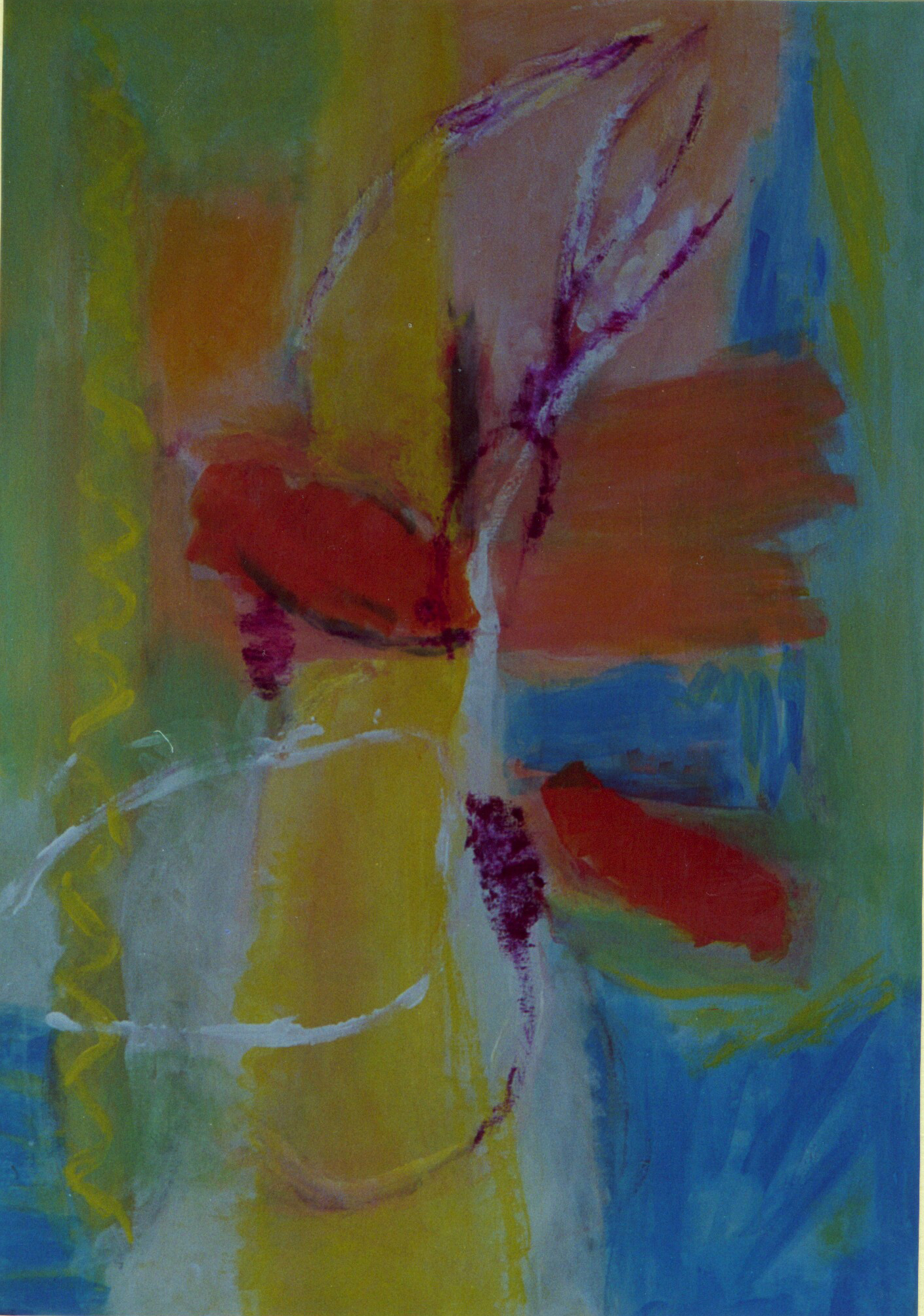 """""""Springtime"""" Acryl, Pigmente auf Nessel, Ölkreide, 80 x 100, mit Schattenfugenleiste"""