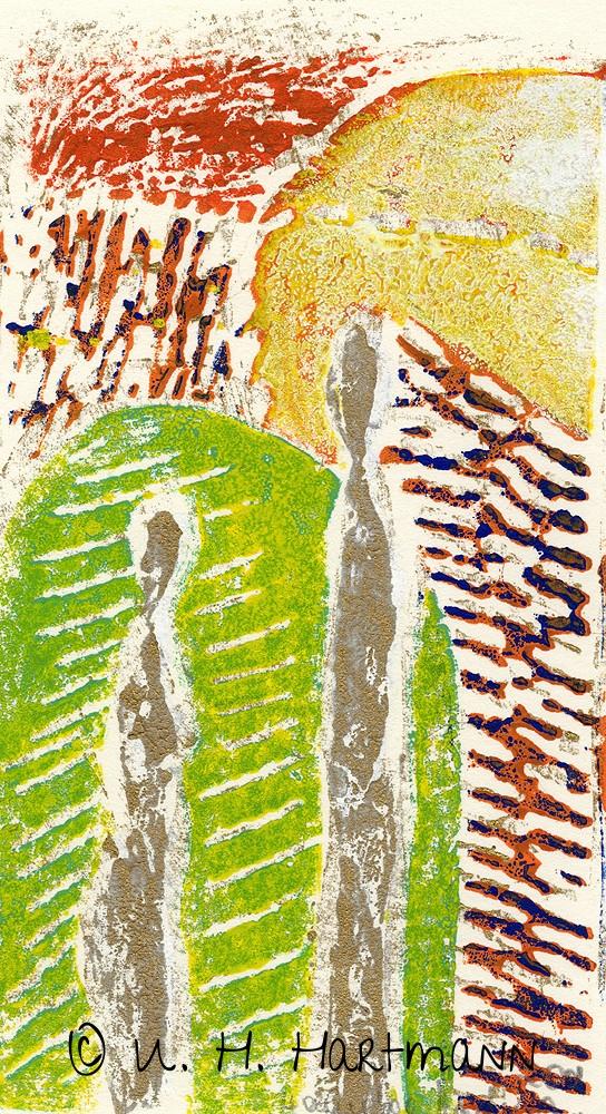 """""""Begegnung"""",  Linoldruck, 40 x 30"""
