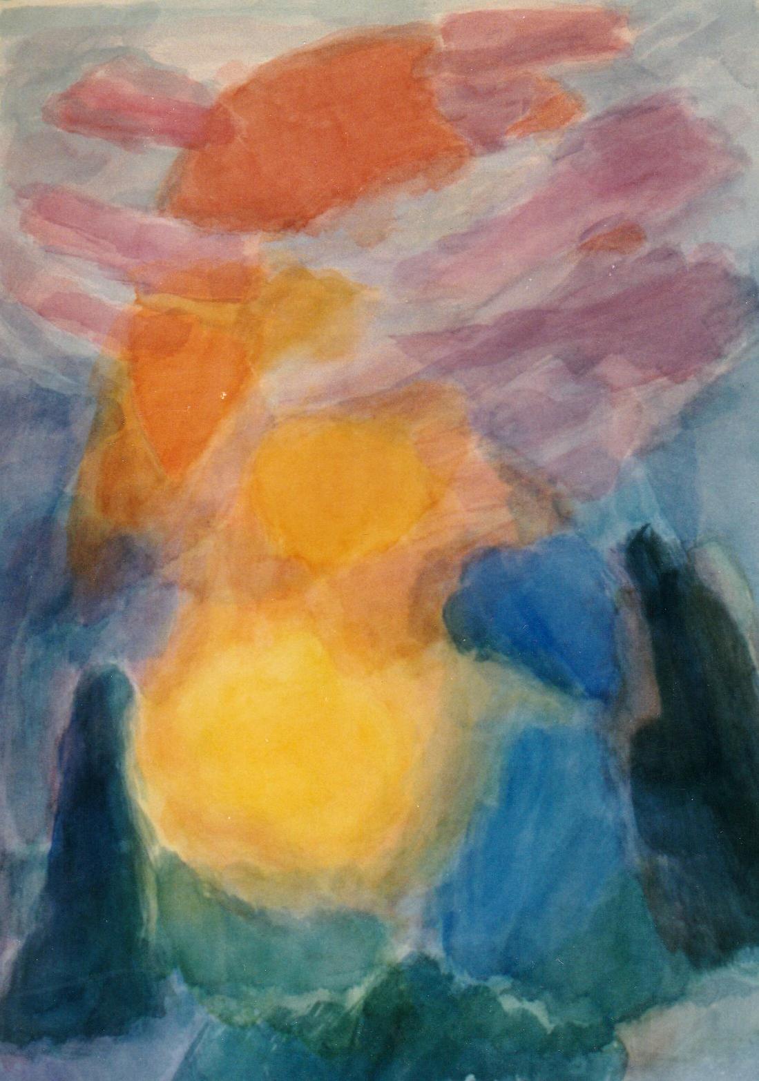 """Der Goethe Farbkreis"""", Spielerische Version des Farbkreises I I,  Aquarell auf Papier, 100 x 70,"""