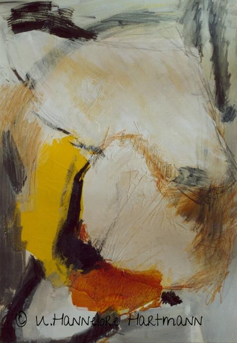 """""""Komposition Schwarz, Weiß, Gelb""""  Collage, Aquarell auf Papier, 100 x 70"""