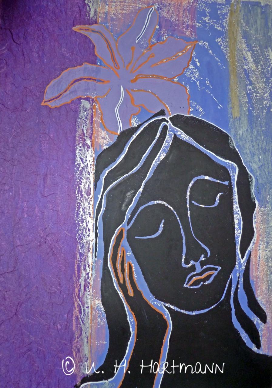 """""""Meditation"""" Linol-und Materialdruck auf Seidenpapier, 60 x 40"""
