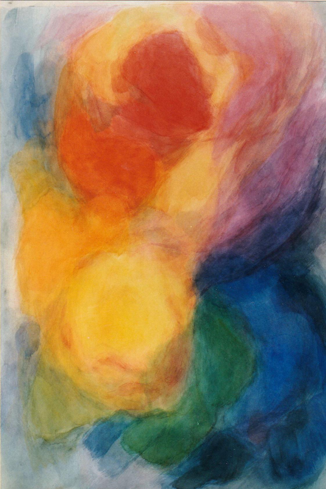 """Der Goethe Farbkreis"""", Spielerische Version des Farbkreises I,  Aquarell auf Papier, 100 x 70,"""