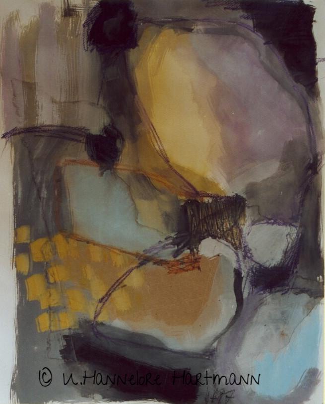 """Blick ins Licht""   Collage, Aquarell auf Papier, 70 x 50"