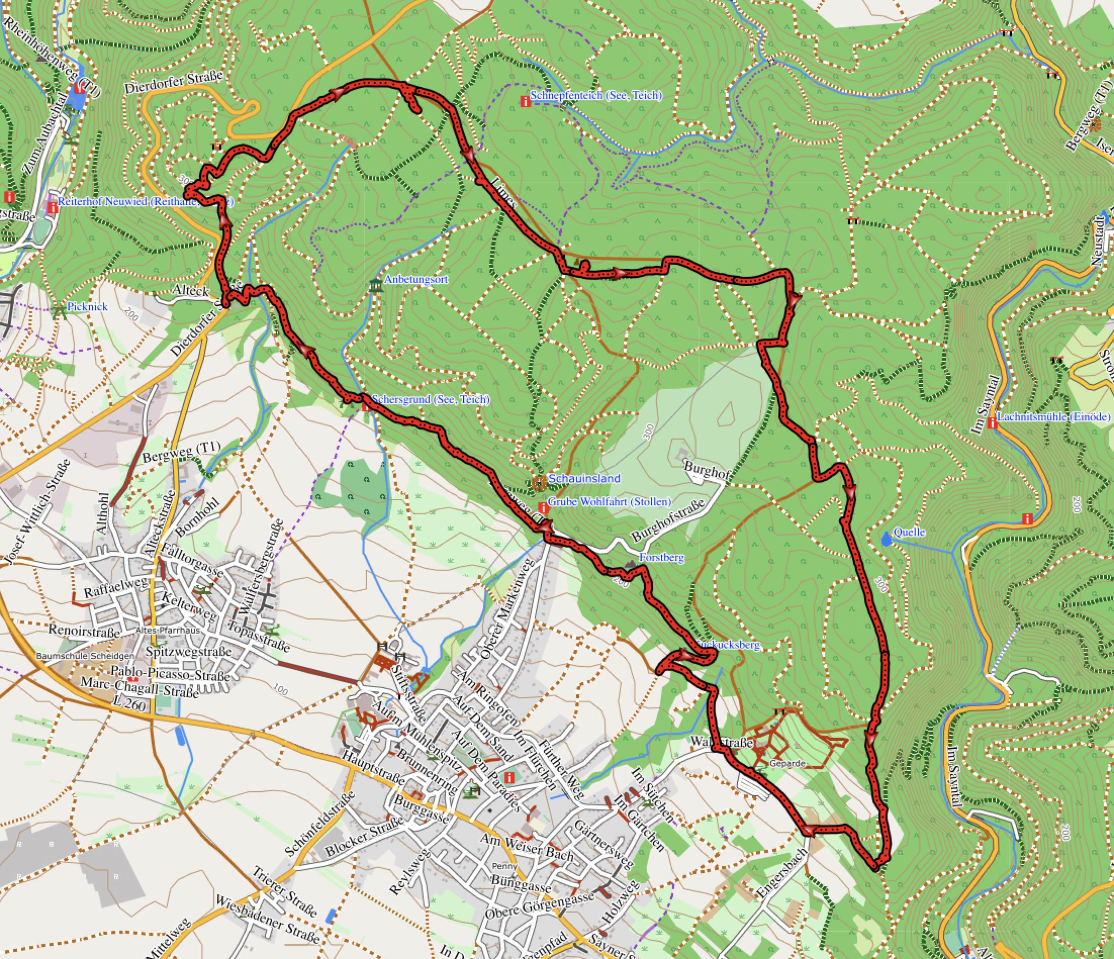 GPXTrack 9 km Rundwanderung zu den mystischen Basaltkugeln, Skulpturen und zur Wasserschloss Ruine