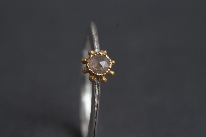 blass roséfarbene Diamantrose, 900er Waschgold, 935er Silber