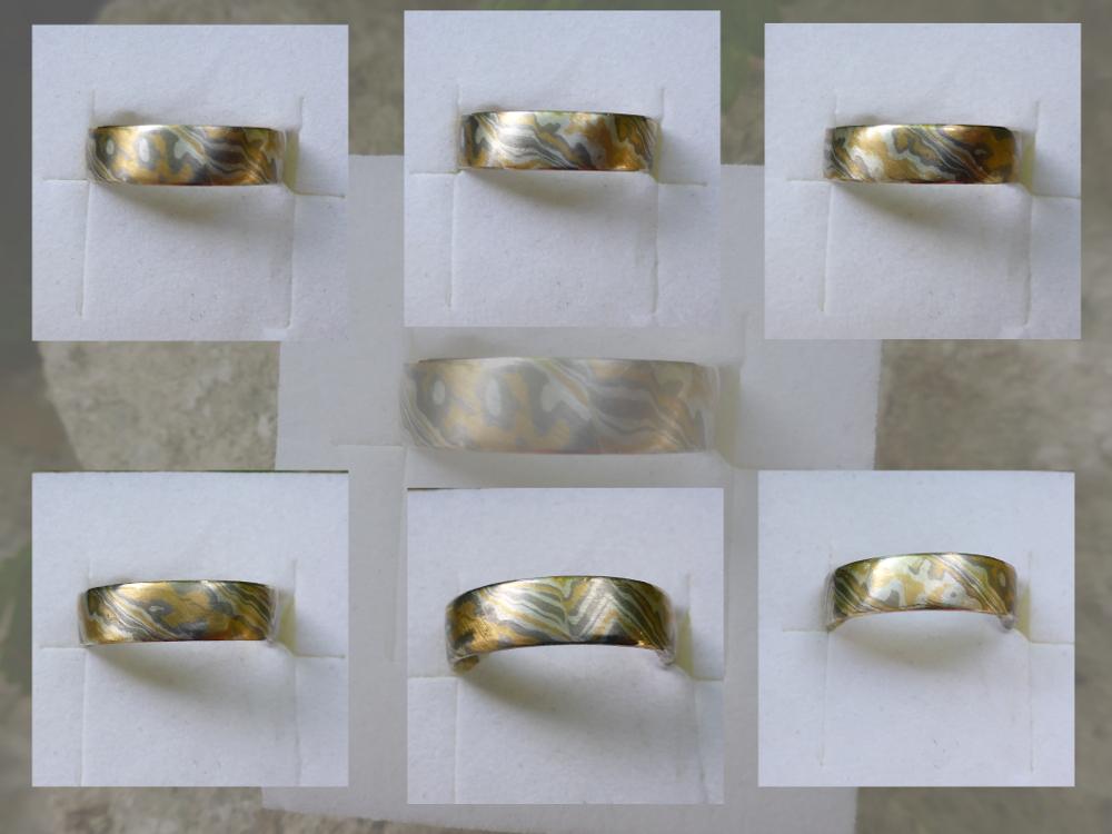 Hier sind die unterschiedlichen Ansichten des entstandenen abwechslungsreich gemusterten Ringes zu sehen