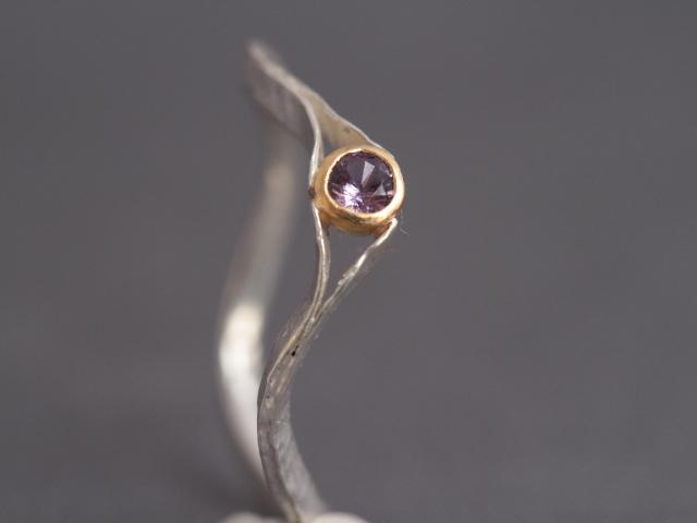 violetter Safir, 900er Waschgold, 935er SIlber