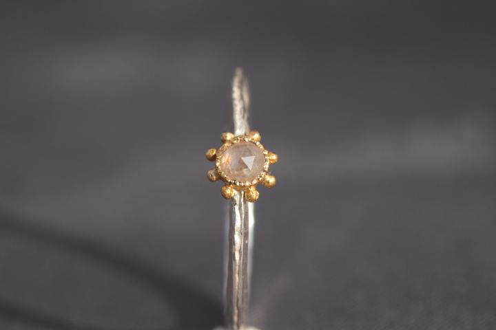 Roséfarbene Diamantrose, 900er Waschgold, 935er Silber