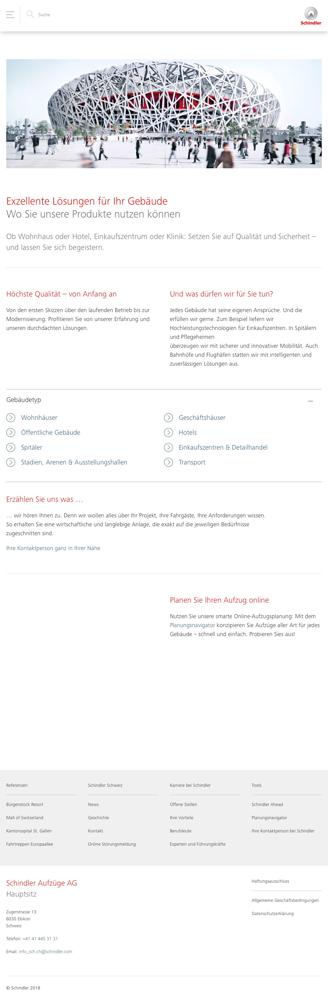 Neues One-Page Layout der Startseite