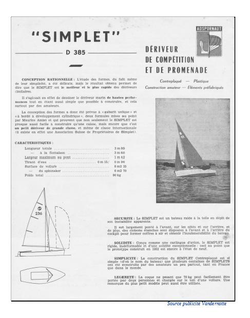 Documentation du Simplet (Source Publicité Chantier Vandernotte)