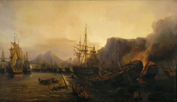 Tableau de 1848 d'Auguste Mayer sur la bataille de Navarin. La scène se situe le soir, après le combat : vaisseaux dématés et incendiés, équipages tentant d'échapper à la noyade…