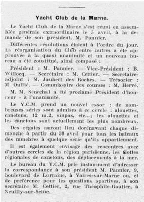 AG du YC Marne du 5 avril 1939