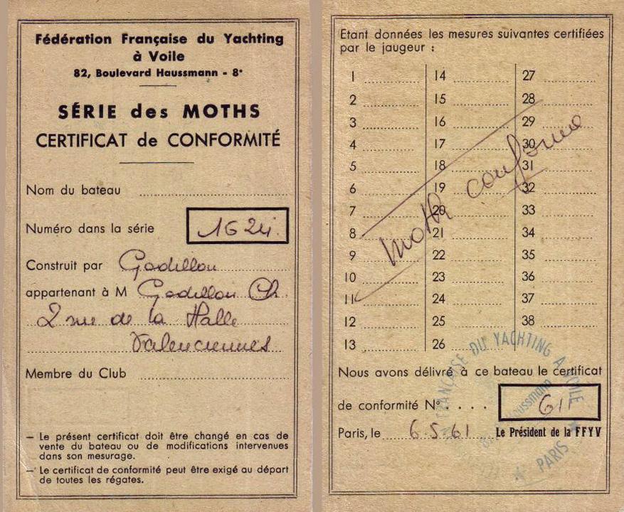 Certificat de conformité du Moth Florida F 611