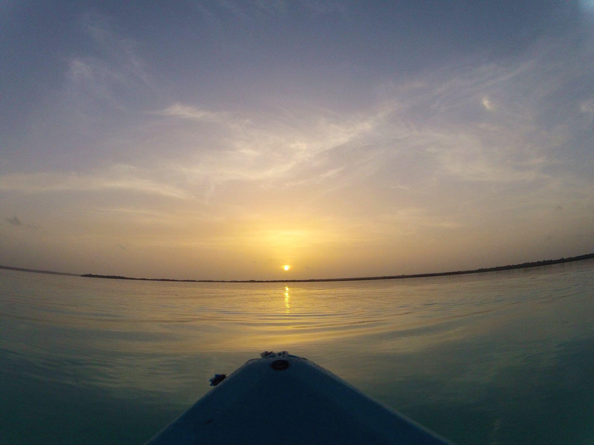 Kayaktour im Sonnenaufgang Laguna Bacalar