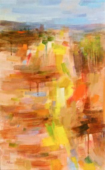 VILLAGE SUR LA COLLINE (huile sur toile) 61 x 38 cm JF.Millan