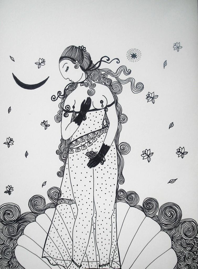 """""""Schaumgeborene""""; 24 x 32 cm. Tuschstift auf Papier. 2014."""