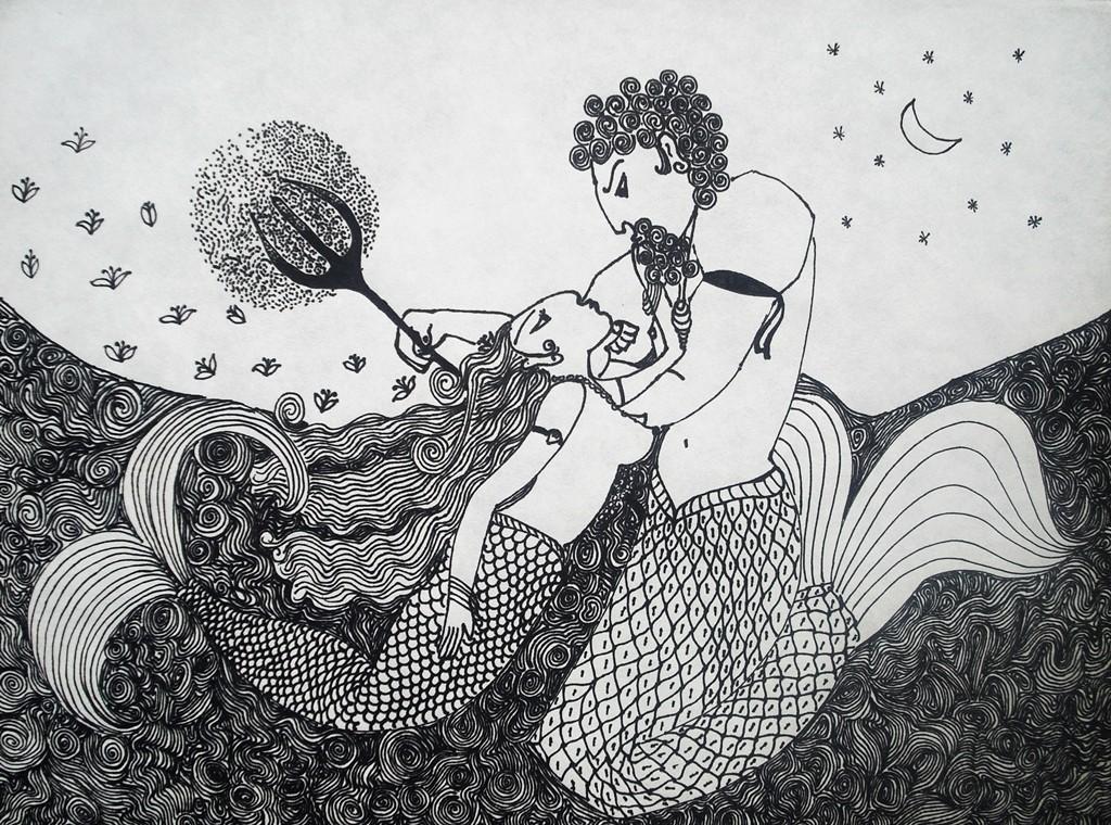 """""""Meerjungfrau und Meeresgott""""; 30 x 40 cm. Tuschestift auf Papier. 2009."""