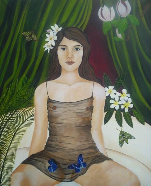 """""""Tuberosen im Haar""""; 80 x 100 cm. Acryl auf Leinwand. 2015."""