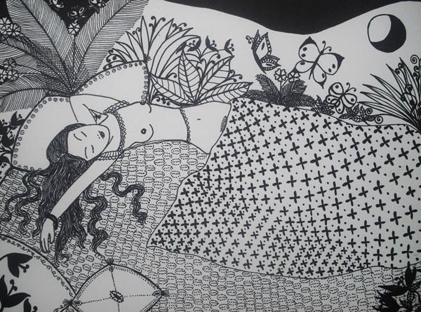 """""""Der Traum""""; 24 x 32 cm. Tuschestift auf Papier. 2011."""
