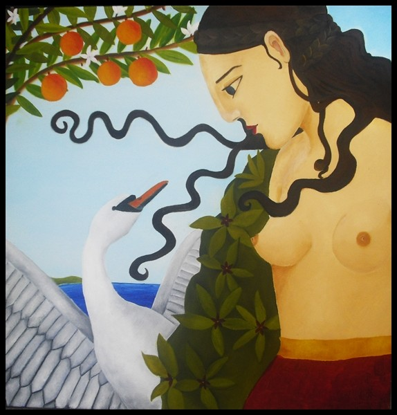 """""""Leda und der Schwan""""; 80 x 80 cm. Öl auf Leinwand. 2012."""
