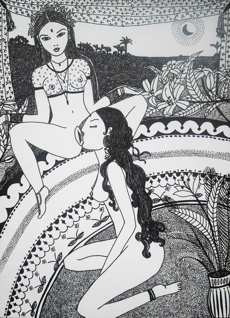 """""""Liebe im indischen Tempel""""; 22 x 30 cm. Tuschestift auf Papier. 2012."""