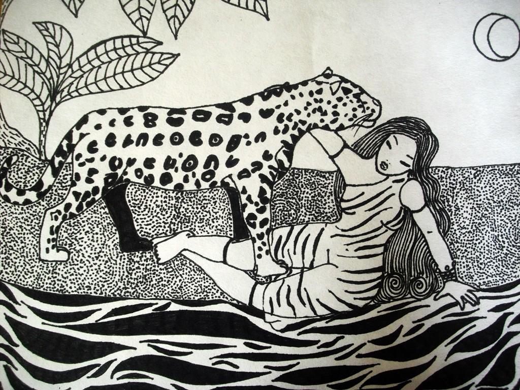 """""""Leidenschaft""""; 24 x 30 cm. Tuschestift auf Papier. 2009."""
