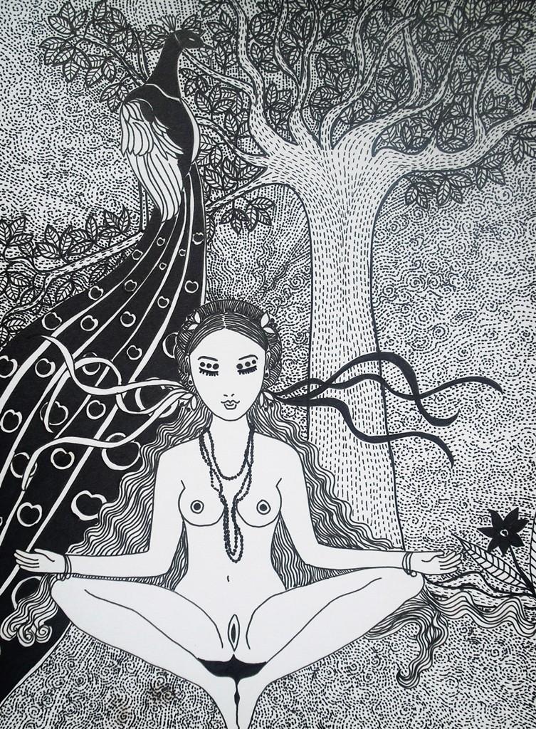 """""""Glücksgefühl""""; 24 x 32 cm. Tuschestift auf Papier. 2013."""