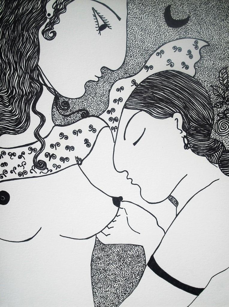 """""""Liebschaft""""; 24 x 32 cm. Tuschestift auf Papier. 2011."""