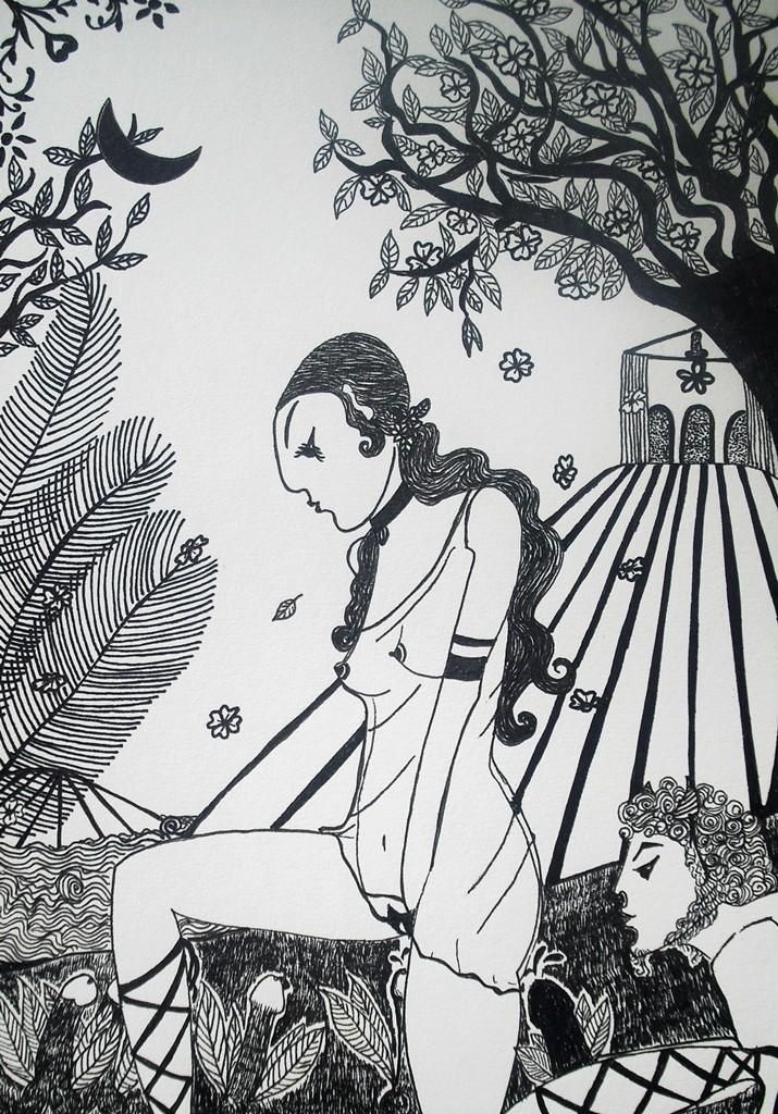 """""""Im Garten der Aphrodite""""; 20,8 x 29,5 cm. Tuschestift auf Papier. 2011."""