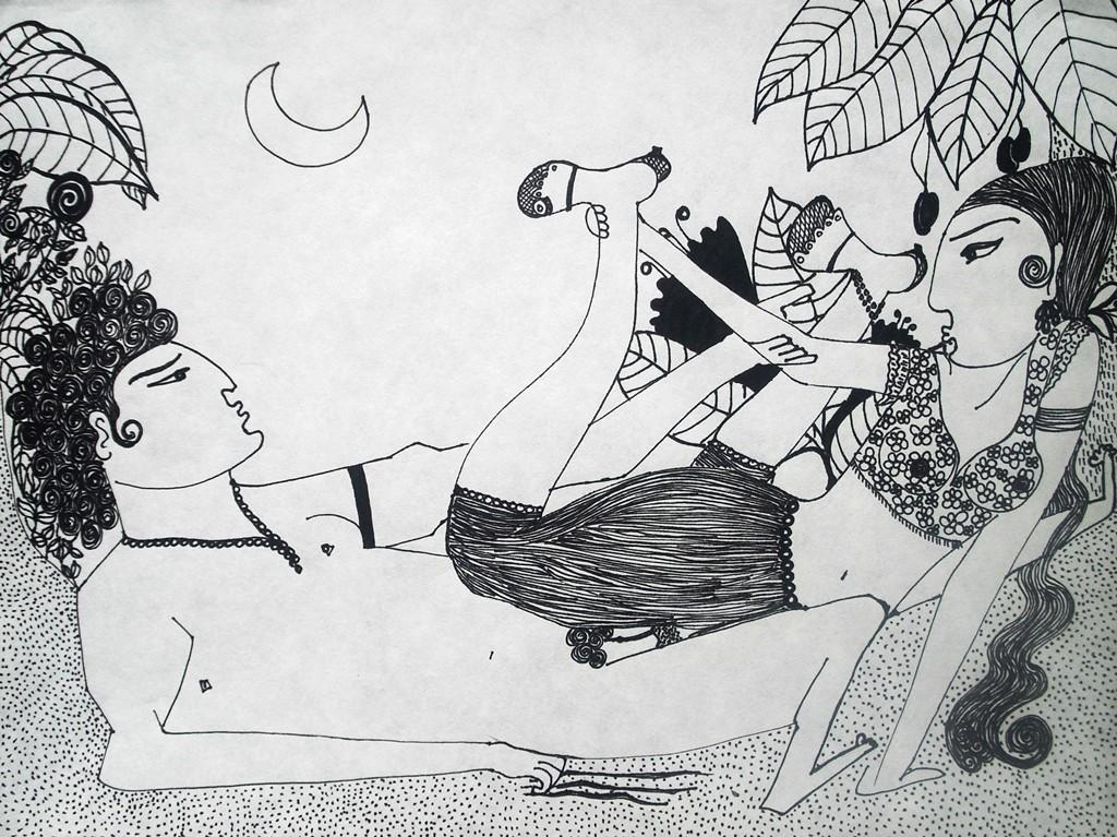 """""""Gartenfreuden""""; 30 x 40 cm. Tuschestift auf Papier. 2009."""