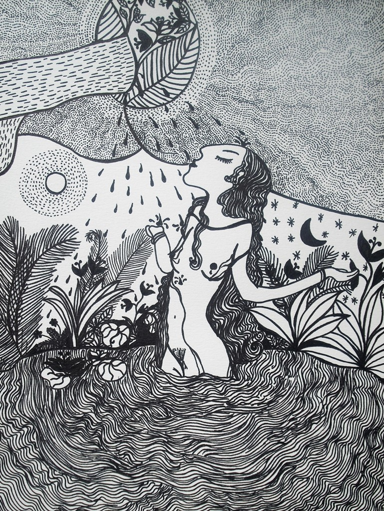 """""""Sinnlicher Regen""""; 24 x 32 cm. Tuschestift auf Papier. 2011."""
