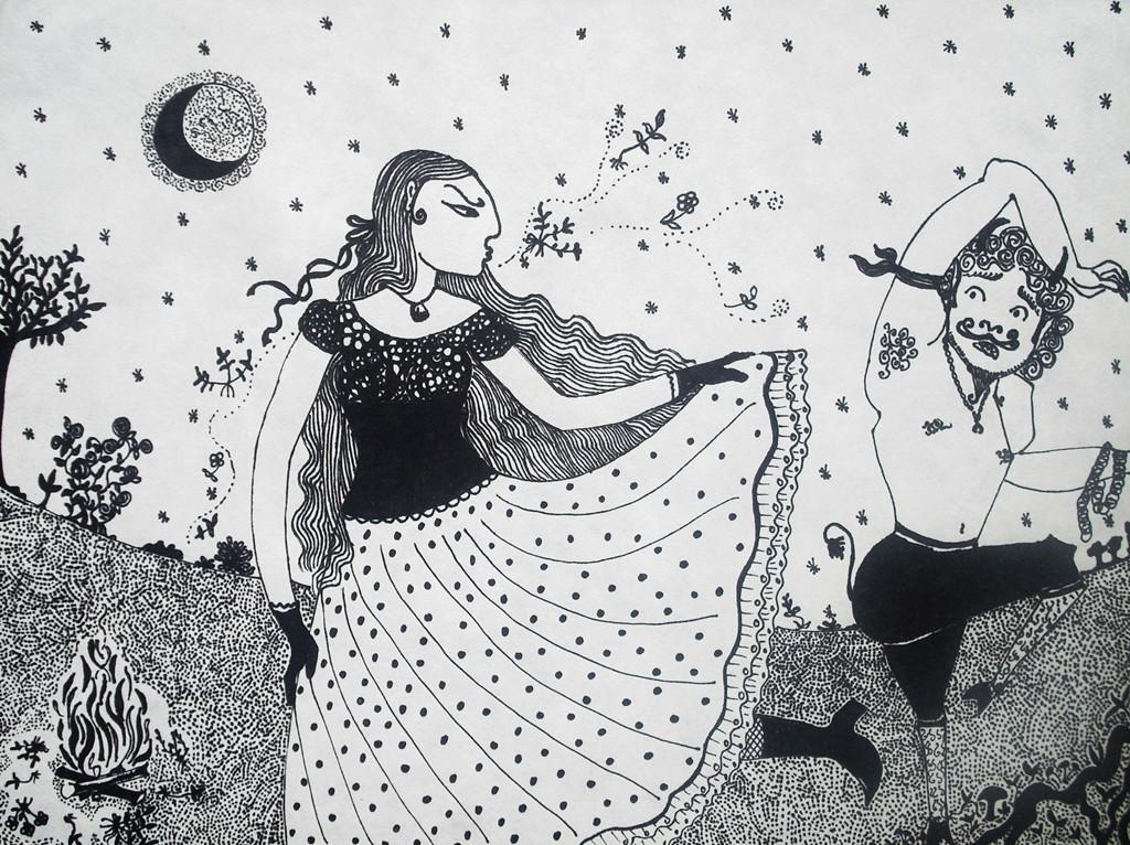 """""""Teufelstanz""""; 30 x 40 cm. Tuschestift auf Papier. 2009."""