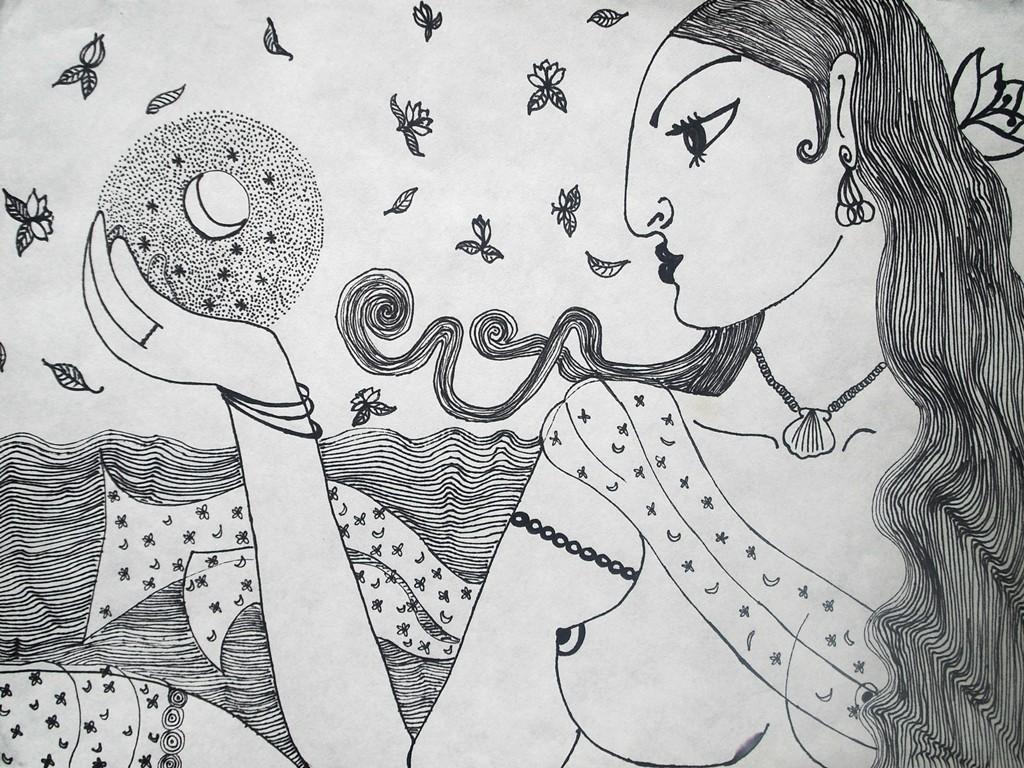 """""""Göttin der Nacht""""; 30 x 40 cm. Tuschestift auf Papier. 2009."""