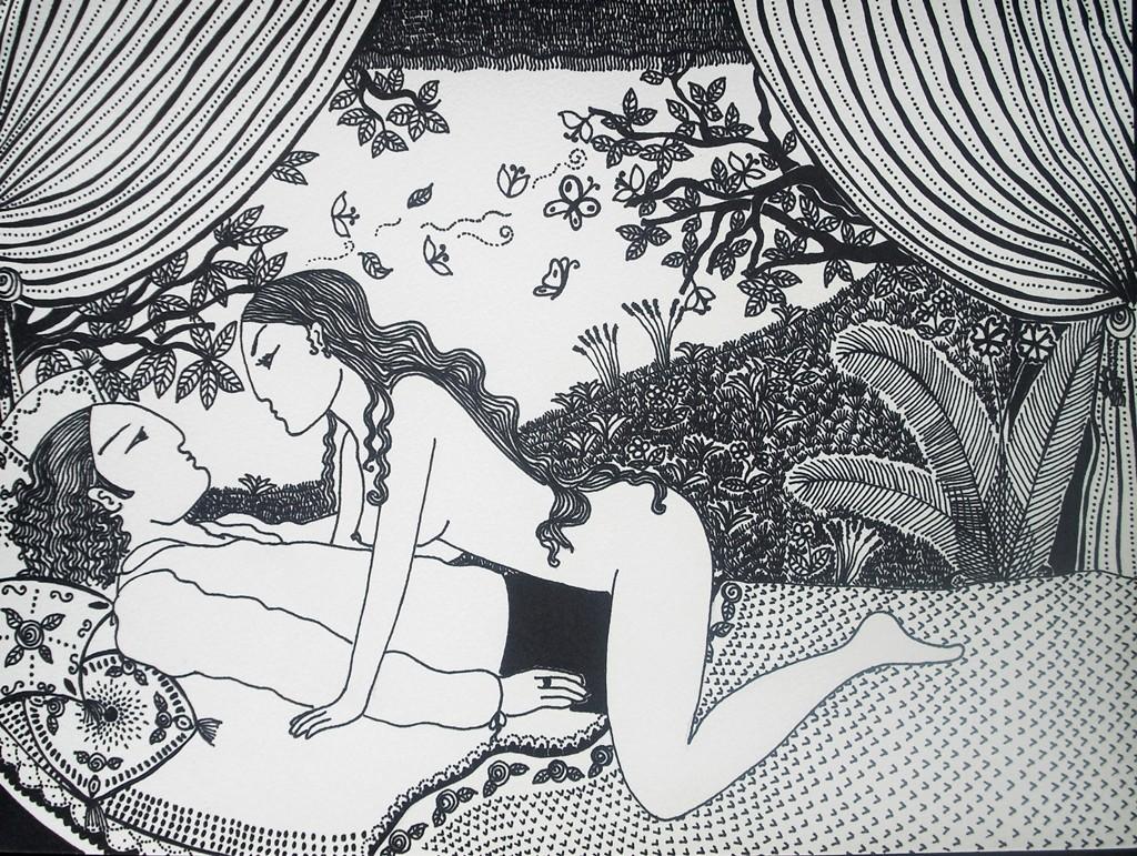 """""""Die Liebschaft im Garten; 24 x 32 cm. Tuschestift auf Papier. 2012."""