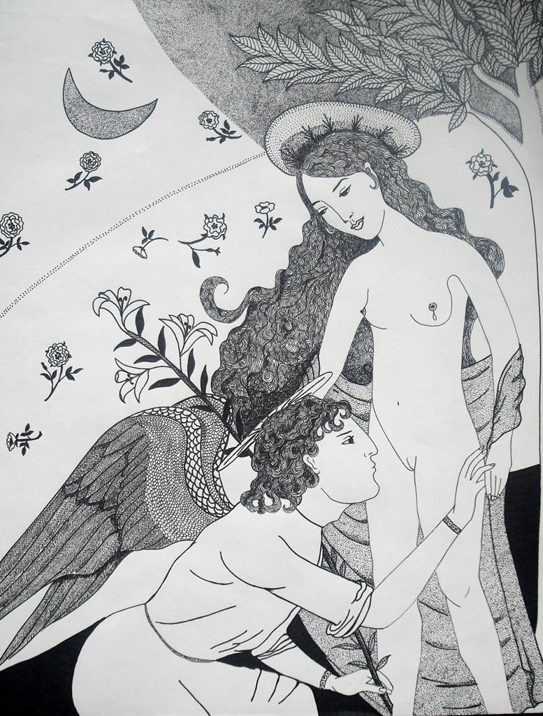 """""""Die Verkündigung Mariens""""; 28 x 35,5 cm. Tuschestift auf Papier. 2015."""