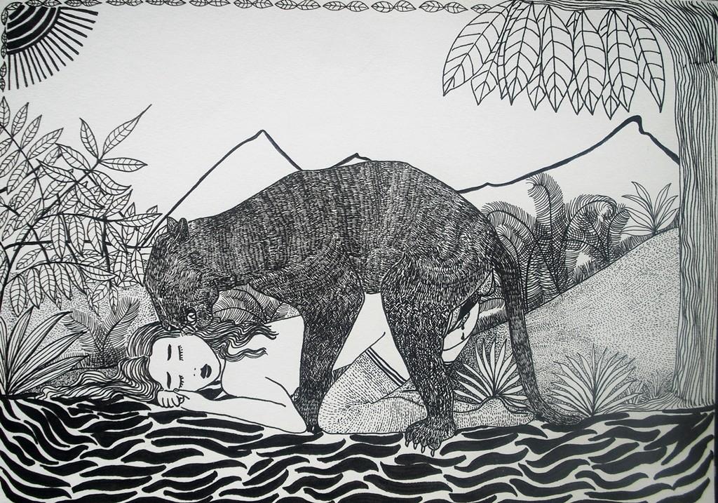 """""""Frau mit wildem Tier""""; 21 x 29 cm. Tuschestift auf Papier. 2011."""