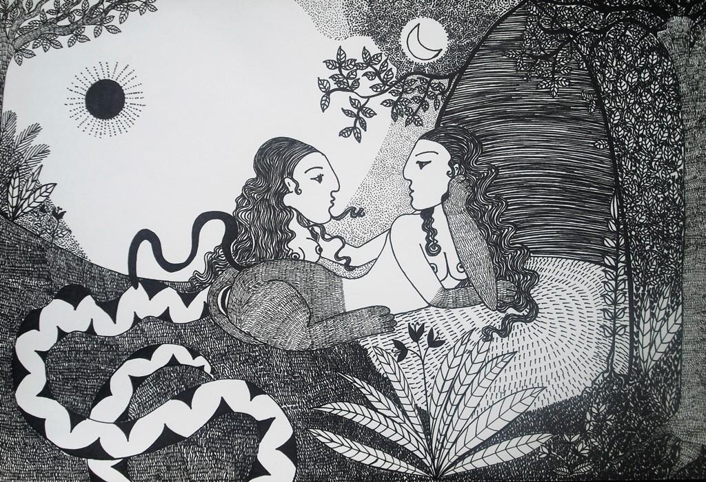"""""""Begegnung zwischen Sonne und Mond""""; 30 x 44 cm. 2012."""