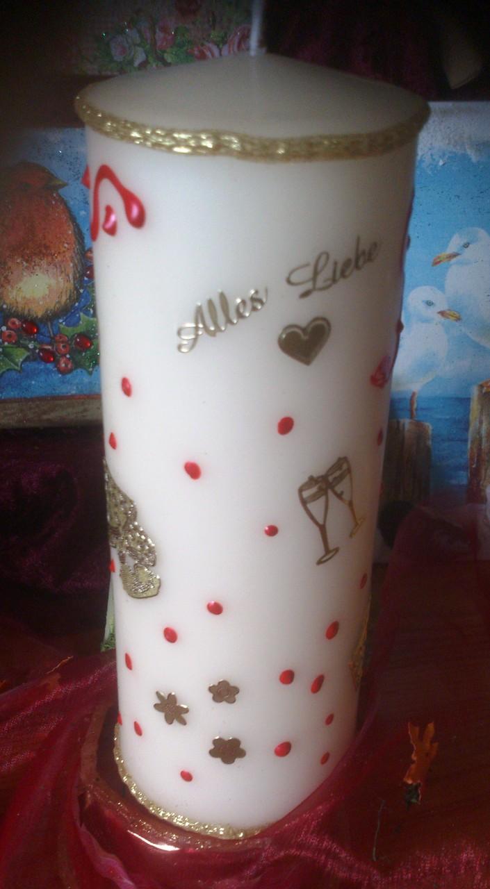 """3. """"Geburtstag"""" - Dies ist ein Beispiel für die Rückseite einer 20 cm Kerze. Verschiedene Sticker und Wachselemente beliebig verteilt. Preis ab 8,50 €"""