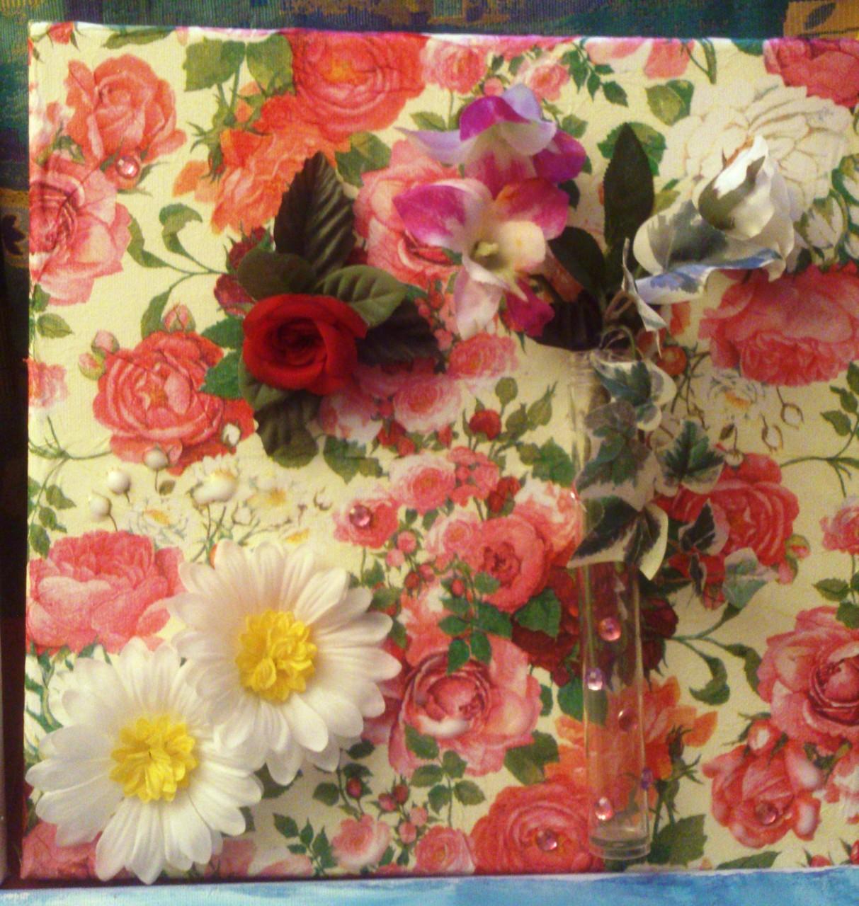"""Rosaroter Blumentraum"" - 30 x 30 cm, Art.-Nr. BRB012016"