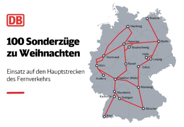 Corona-Weihnachten in Deutschland: Karte der Bahn-Hauptstrecken im Fernverkehr, wo 100 Sonderzüge an Weihnachten 2020 eingesetzt werden