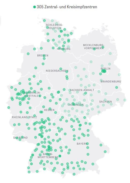 Zentralimpfzentren und Kreisimpfzentren für die Corona-Impfung auf der Deutschlandkarte im Überblick