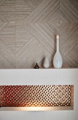 Rendu finalisé d'un tête de mit, carrelage effet bois et cuivre Porcelanosa, étude du projet agence En Toile de Fond Décoration, Moselle