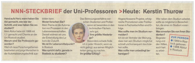 NNN-Steckbrief der Uni-Professoren >Heute: Kerstin Thurow