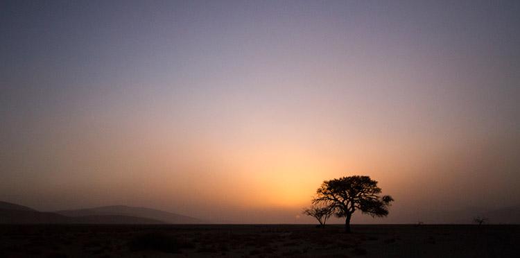 Sossusvlei: coucher de soleil sur le désert du Namib