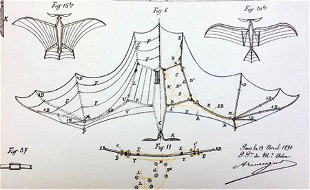 Fig.2 : Structure des ailes (Clément Ader Brevet d'invention n°2707 du 11 août 1890)