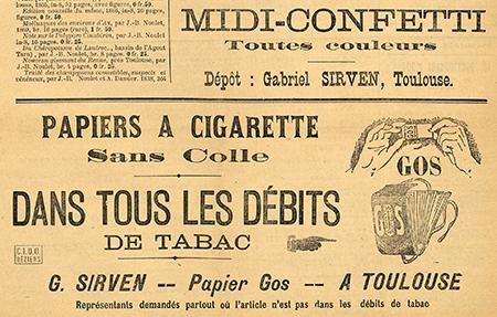 Publicité pour le papier à cigarette Gos parue dans le journal Lé Gril