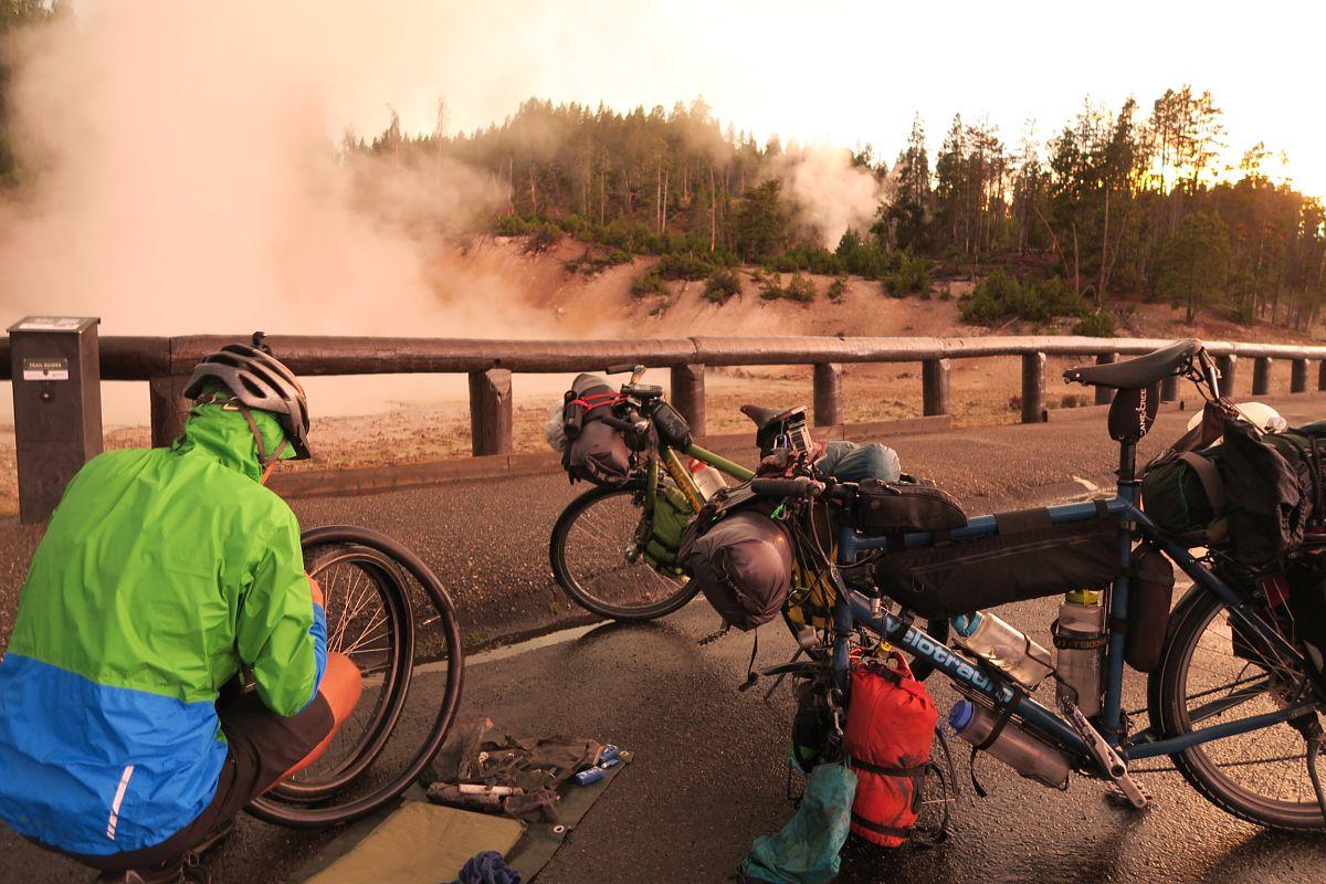 Yellowston Nationalpark, Platten flicken bevor es dunkel wird