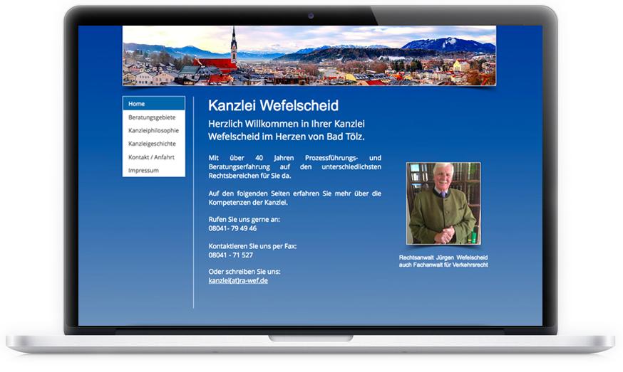 Der Anwalt aus Bad Tölz hat sich von uns einen repräsentativen Internetauftritt, nach seinen Vorgaben gewünscht.